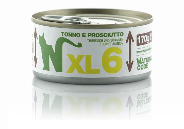 NATURAL CODE XL6 puszka 170g tuńczyk i szynka, mokra karma dla kota