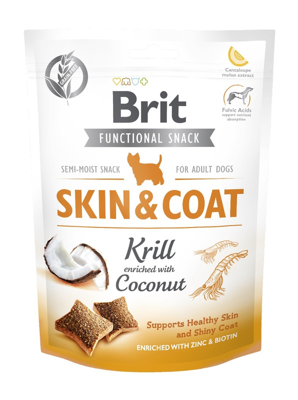 BRIT Care Dog Functional Snack Skin&Coat Krlii 150g, przysmak dla psa