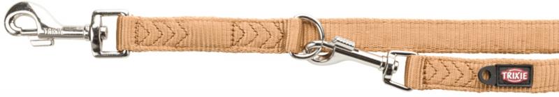 TRIXIE Premium - smycz regulowana dla psa z podwójnej taśmy, karmel