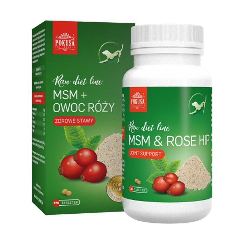 POKUSA Raw Diet Line MSM + Owoc dzikiej róży - wsparcie aparatu ruchu, źródło witaminy C, 120 tabletek