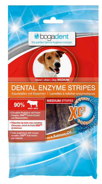 BOGADENT Dental Enzyme Stripes przysmak dla psa, 3 rozmiary, 100g