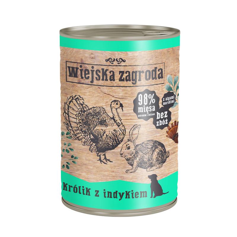 Wiejska Zagroda Królik z indykiem 400g mokra karma dla psa