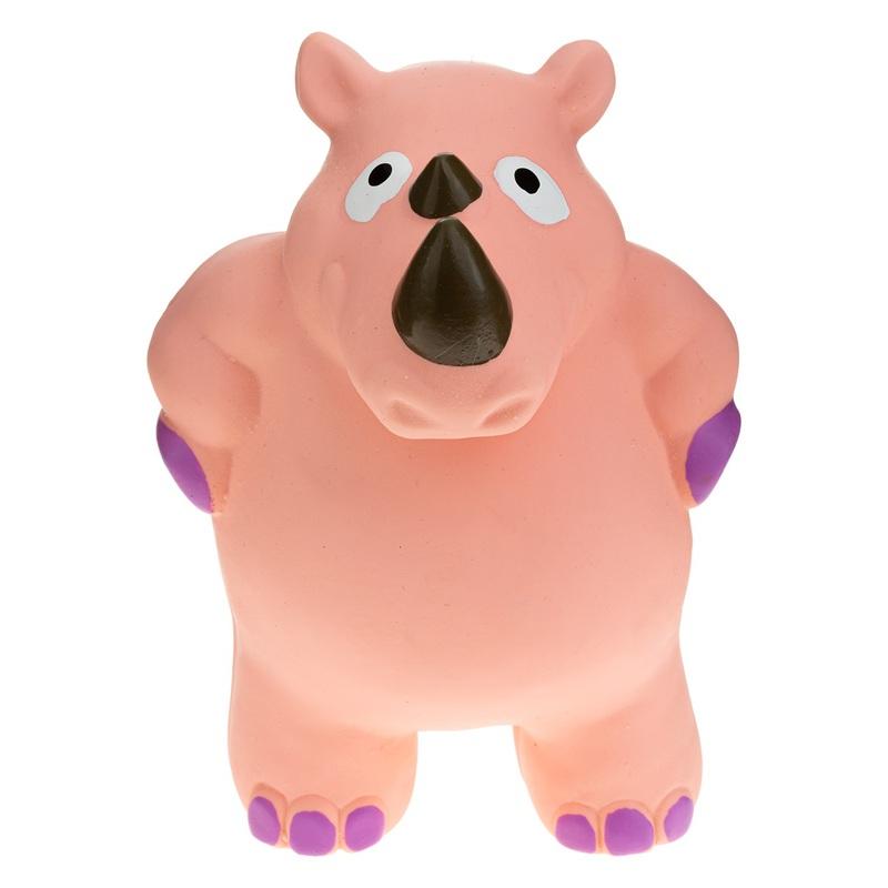 RECOFUN Lagoo Rhino - Zabawka dla psa z piszczałką – Nosorożec różowy