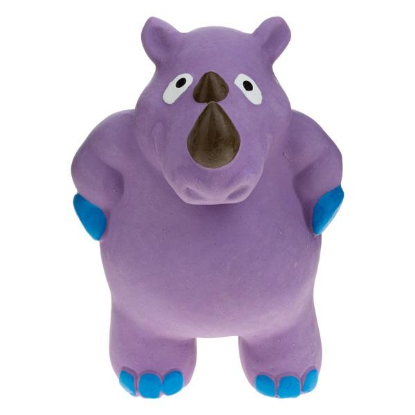 RECOFUN Lagoo Rhino - Zabawka dla psa z piszczałką – Nosorożec fioletowy
