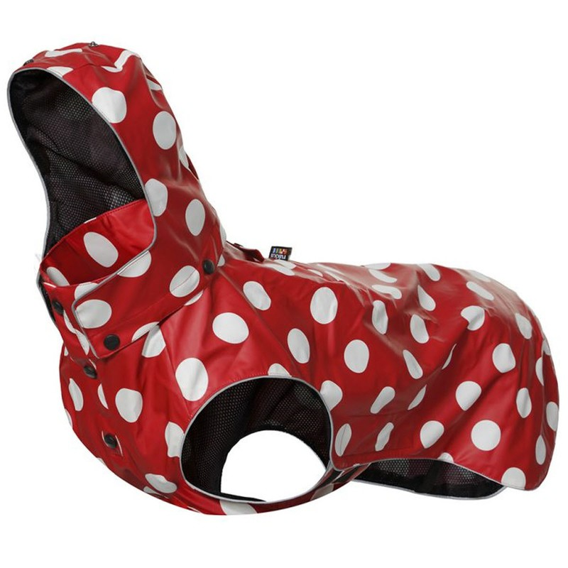 RUKKA STREAM kurtka przeciwdeszczowa dla psa, czerwona w kropki, 7 rozmiarów