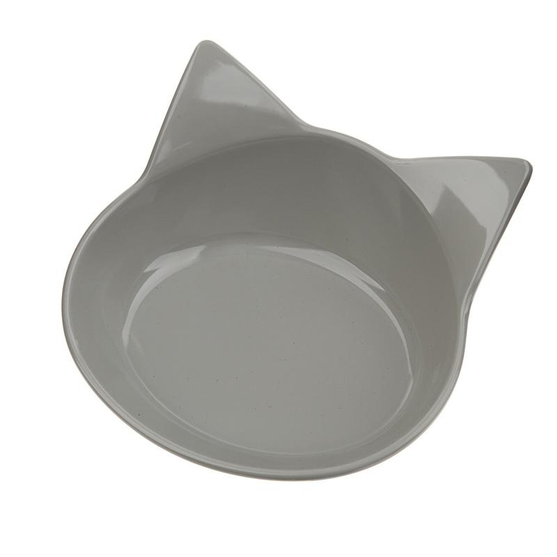 RECOFUN Miska Kitty grey - Miska dla kota w kształcie głowy, szara