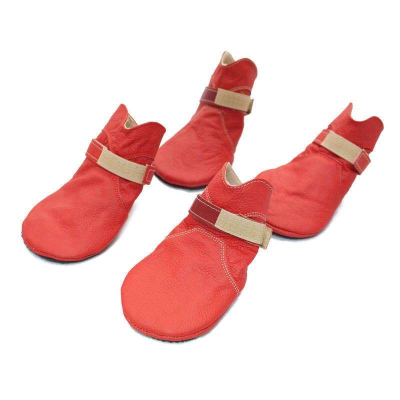 REMIRO - skórzane buty profilowane dla psa 4 sztuki, Czerwone