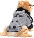 DOGGYDOLLY płaszcz Shinori w kratkę z czarnym futerkiem, dla małego psa
