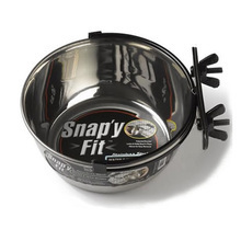Mid West Snapy Fit- miska metalowa do klatki, pojemność 300ml, 600ml lub 2l