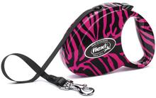 Flexi Fashion Pink Zebra- smycz automatyczna na taśmie, kolor fuksja