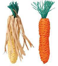 Trixie Straw Toys- sizalowa marchewka i kukurydza dla królika lub świnki morskiej