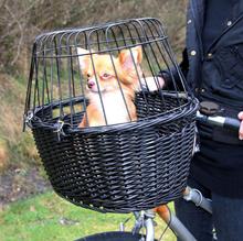 Trixie Kosz wiklinowy na rower do przewozu psa lub kota do 8kg wagi, kolor czarny