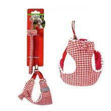 CAMON Bianco Rosso - komplet dla szczeniąt i ras miniaturowych, szelki + smycz Modny wzór w czerwoną kratkę/pepitkę!