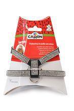 Camon Genuine Leather- skórzane szelki dla psa ozdobione kryształkami, rozmiar M