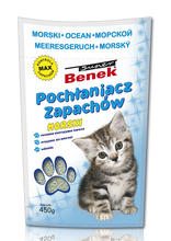 CERTECH BENEK Super Pochłaniacz zapachów do kuwety dla kota, zapach morski 450g