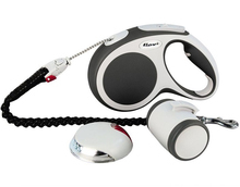 FLEXI Vario - zestaw (smycz, latarka LED, pojemnik Multibox i amortyzator),linka 5m, rozmiar M, grafit
