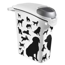 CURVER Petlife Black & White - praktyczny pojemnik na suchą karmę dla psa 10kg