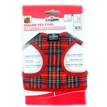 CAMON Parure Per Cani – szelki + smycz, zestaw dla psa, czerwona krata XS