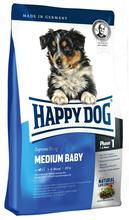 HAPPY DOG Medium Baby (faza 1) - pełnowartościowa karma dla szczeniąt ras średnich (4 tydz.-5 miesiąca życia), 300g+300g GRATIS!