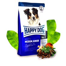 HAPPY DOG Medium Junior (faza 2) - pełnowartościowa karma dla młodych psów ras średnich (6-15 miesiąca życia), 300g+300g GRATIS!