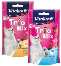 VITAKRAFT - TRIO MIX - Mieszanka trzech różnych chrupiących przysmaków dla kota, 60g