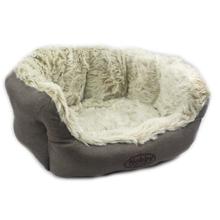 NOBBY eleganckie, pluszowe legowisko dla psa lub kota, brązowe