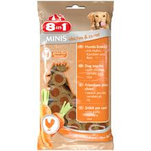 8IN1 Minis Kurczak z marchewką - smakowity przysmak dla Twojego psa w postaci mięsnych krążków, 100g