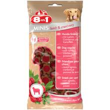 8IN1 Minis Jagnięcina z żurawiną - smakowity przysmak dla Twojego psa w postaci mięsnych krążków, 100g