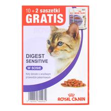 ROYAL CANIN Digest Sensitive MEGAPAKA - kawałki mięsa w sosie dla kotów o wrażliwym przewodzie pokarmowym 10+2 GRATIS!