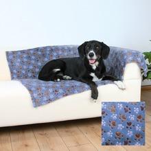 """TRIXIE Laslo - miękki kocyk dla psa, wzór w """"łapki"""" 100 x 70cm, niebieski"""