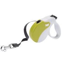 FERPLAST AmiGo Small – nowoczesna smycz automatyczna, taśma, biało/zielona