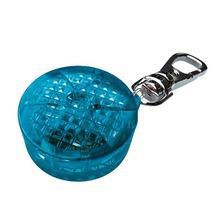 TRIXIE Flasher - okrągła, świecąca zawieszka z adresówką do obroży dla psa, niebieska