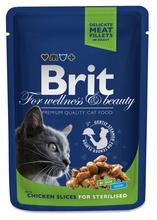 BRIT Premium Kawałki Kurczaka w Sosie - karma dla wysterylizowanych kotów, saszetka 100g