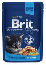 BRIT Premium Kitten Kawałki Kurczaka w Sosie - karma dla kociąt, saszetka 100g