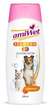 Amiwet szampon 2 w 1 dla psów i kotów z witaminą E, 200ml