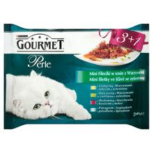 Purina Gourmet Perle Mini fileciki w sosie z warzywami - karma dla kota, 3+1