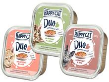 HAPPY CAT DUO - mokra karma dla kota - różne smaki, pasztet w szalce 100g