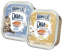 HAPPY CAT DUO - mokra karma dla kota, różne smaki, pasztet w szalce 100g