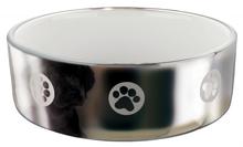 TRIXIE - Miska ceramiczna dla psa, srebrna, z motywem psich łapek
