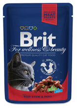 BRIT Premium z wołowiną i groszkiem w Sosie - karma dla dorosłych kotów, saszetka 100g