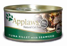 APPLAWS - Mokra karma dla kotów, filet z tuńczyka z wodorostami, 156g
