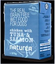 NATUREA Grainfree Kurczak, tuńczyk i łosoś - mokra karma dla psów 375g