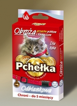 PCHEŁKA Obroża przeciw pchłom i kleszczom dla kota, kolor czerwony 20cm-30cm z odblaskiem i dzwonkiem