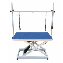 GroomStar - stół z podnośnikiem elektrycznym, blat 110 cm x 60 cm, niebieski