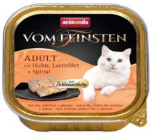 ANIMONDA Vom Feinsten Adult Kurczak, łosoś i szpinak - Pełnowartościowy posiłek dla dorosłych kotów, 100g