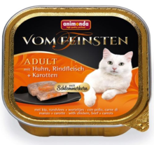 ANIMONDA Vom Feinsten Adult Kurczak, wołowina i marchew - Pełnowartościowy posiłek dla dorosłych kotów, 100g