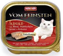 ANIMONDA Vom Feinsten Adult z Wołowiną, piersią z kurczaka i ziołami - Pełnowartościowy posiłek dla dorosłych kotów, 100g