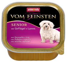 ANIMONDA Vom Feinsten Senior Jagnięcina + Drób - mokra karma dla starszych psów, szalka 150g