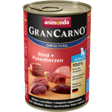 ANIMONDA Grancarno Junior Wołowina + Serce indyka - karma dla szczeniaków, puszka 400 i 800 g