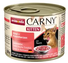 ANIMONDA Carny Kitten Wołowina + Serca indyka - smakowita mokra karma dla kociąt, puszka 200 i 400g